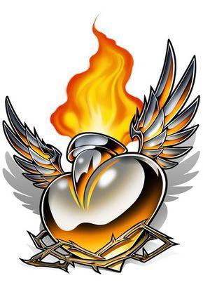 Sacred Heart - Chrome Temporary Tattoo