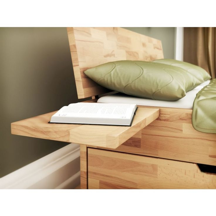 Futon bed / Solid wood bed Wooden Nature 16, heartbeech wood, oiled - 160 x 200 cm