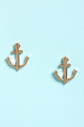 Sailorette Rose Gold Anchor Earrings