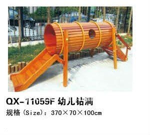 Children outdoor playground equipment wooden swing and slide set