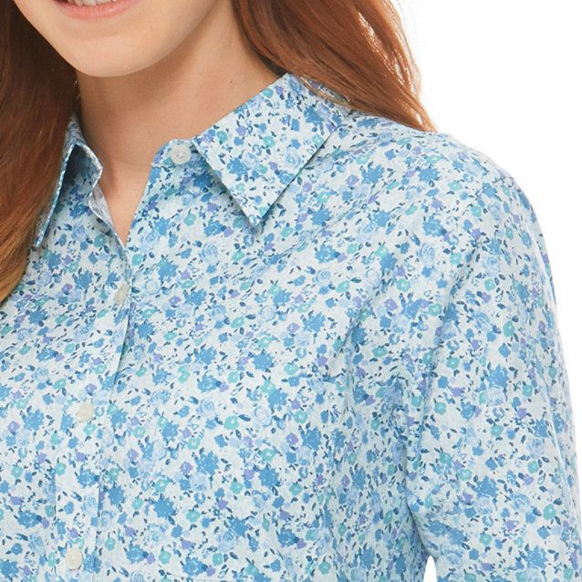 Women's Wrinkle-Free Pinpoint Oxford Shirt, Long-Sleeve Floral - LL Bean Intl