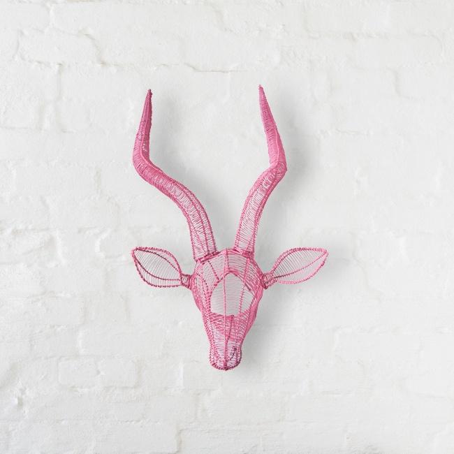 Wire Impala Head (flamingo pink) by Safari Fusion www.safarifusion.com.au