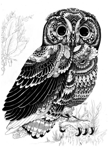 Patterned Owl Art Print by Iain Macarthur | Society6