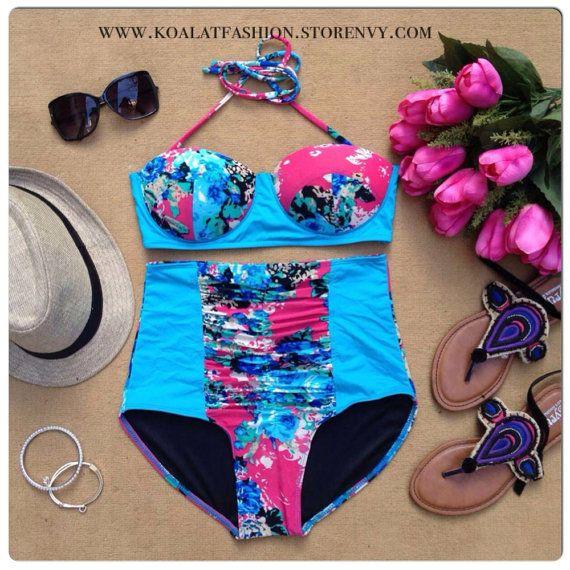Blue Azalea High Waist Bikini