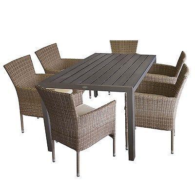 Gartengarnitur Polywood Gartentisch 150x90cm + 6 Polyrattan Sessel mit Kissen