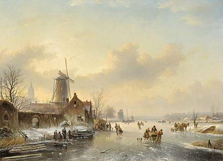 Jan Jacob Spohler - Bedrijvigheid op het ijs bij een molen en erachter een kerktoren