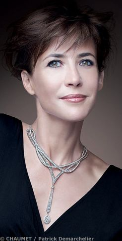Sophie Marceau, french actress wearing Chaumet jewelry Paris