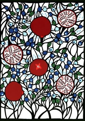 Petra Borner (Swedish artist, illustrator and designer). #pomegranates #fruit #red