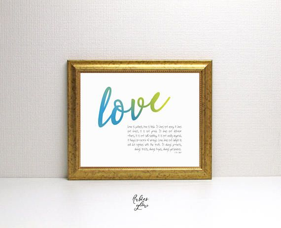 Love is patient. Love is kind - 1 Cor 13:4 -7 - Color Bright quote - Love - Bible verse decor - Instant download - Digital Art - Colorful-