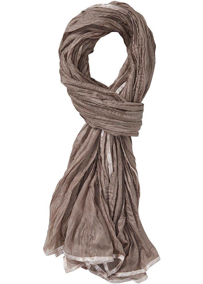 Tørklæde nougat 22802 Crinkled Silk Scarf - 245 wood smoke