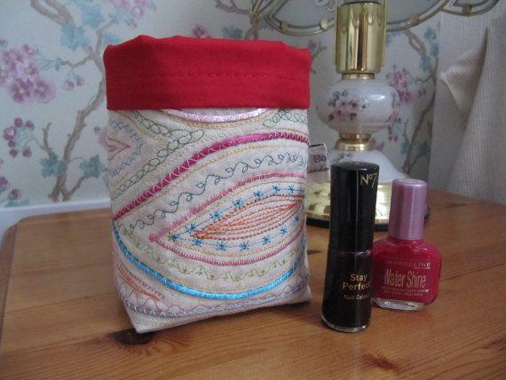 Embellished Linen Fabric Pot Fabric Bin Storage by BobbyandMeSew