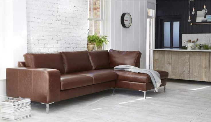 Kingly 3 Seater Sofa with Chaise in Old English Hazel with Polished Chrome Legs