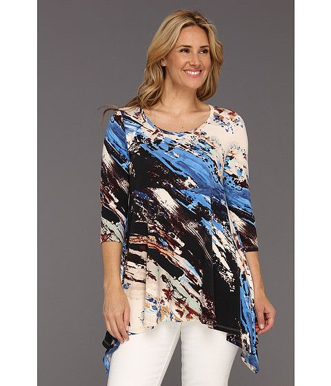 bluze Karen Kane Plus Size Handkerchief Top model asimetri cu colturile mai lungi in parti