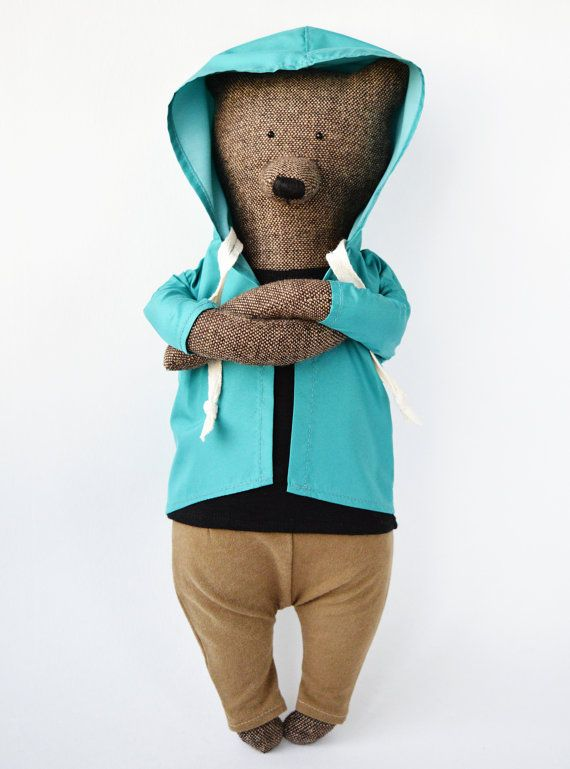 Simon der Bär. Primitive Teddybär. Kind freundlich Spielzeug. Ausgestopfte Bär Spielzeug