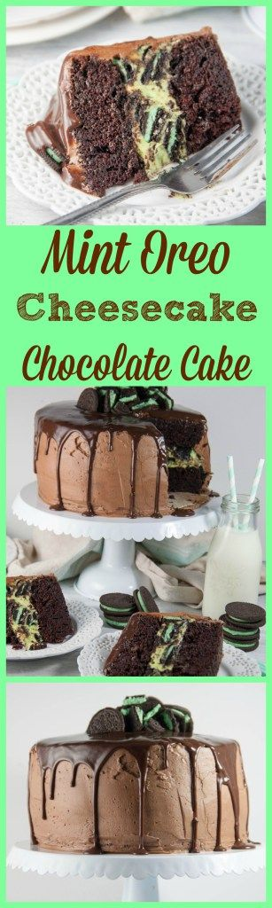 Mint Oreo Cheesecake Chocolate Cake- a decadent and gorgeous cake for your holiday table! Mint Oreos, chocolate cake, and cheesecake all in one!