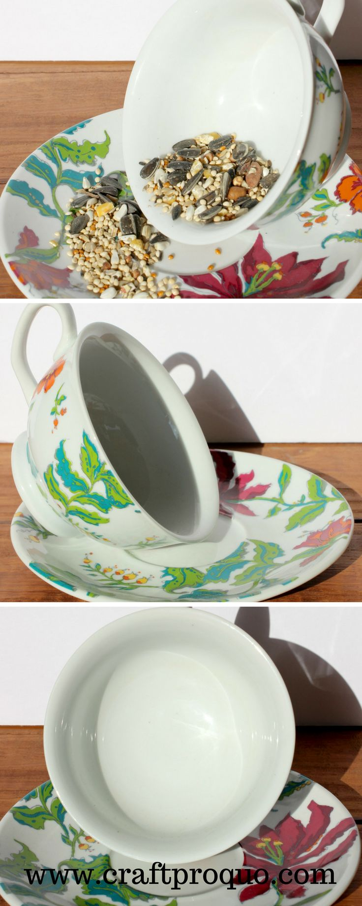 This patio decor has been repurposed from a ceramic floral teacup and saucer. It will attract attention from birds and humans alike. Shop now at www.craftproquo.etsy.com. #gardendecor #upcycled #birdfeeding