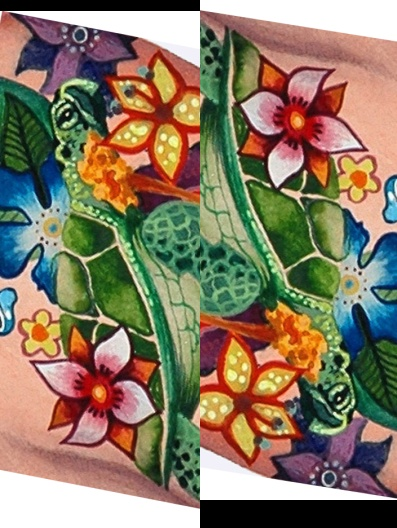 """""""Turtles and Flowers"""" flip flops by Heather Ritts"""