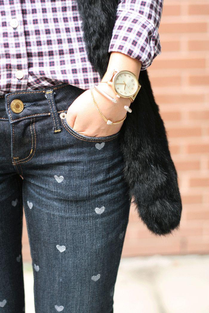DIY Heart Print Jeans