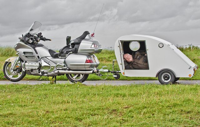 Motorcycle and Caravan