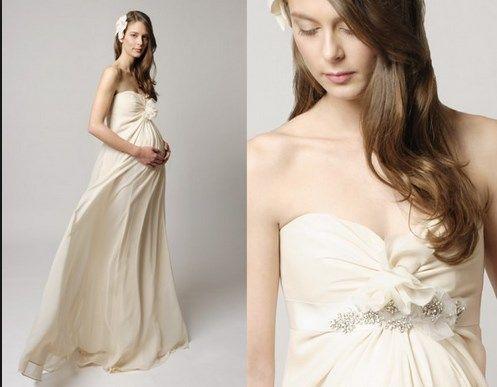 una mujer embarazada bella vestido de novia!!