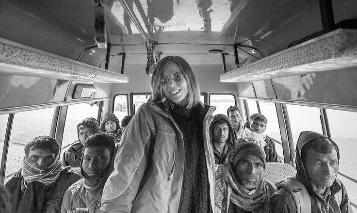 A #redhead in #leh . #photography by @abhishekmanglamusic . . #himalayas #bus #india #travel #travelphotography #adventure #ride #vj  #techno #blackandwhitephotography #modeling #treck #altitude #mountain #snow #artist #musician #witch #johnlennon #sunglasses
