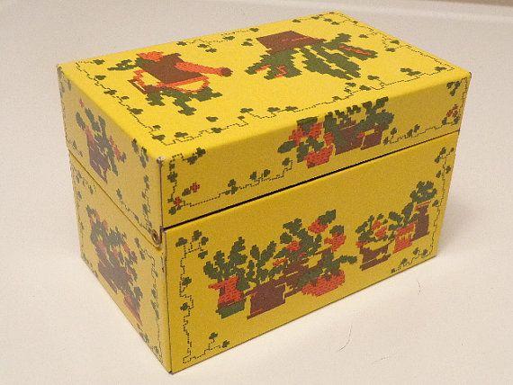 Yellow Recipe Tin Box Southwestern Themed by LuliesVintageShoppe