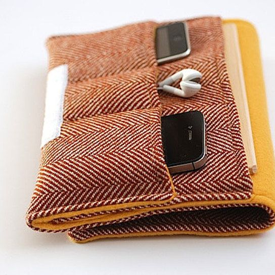Padded Tartan Wool Gadget Sleeve With Pockets, Ipad Mini Kindle Fire Case, Touch Google Nexus 7 Gadget Sleeve, Padded Gadget Sleeve For GUY from brambleandbeene - Products tagged with tabletcasesmen, techaccessoriescases, bagsleathergoods, men