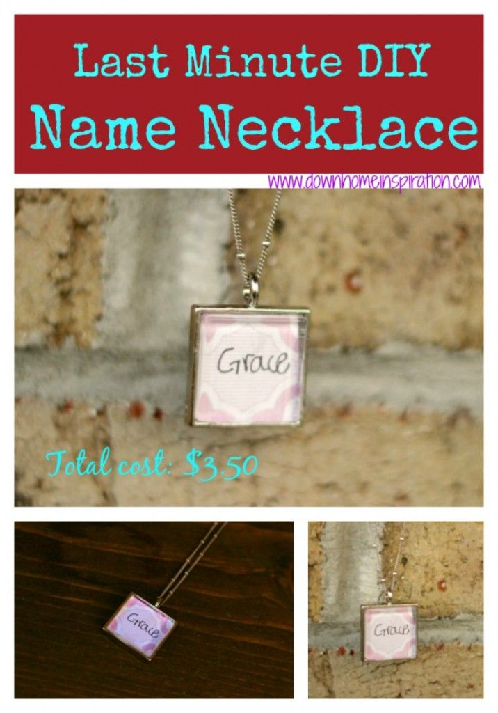 Super simple and cheap gift idea. This would be perfect for grandparents! DIY Name Necklace - Down Home Inspiration