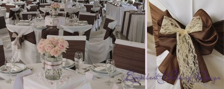 Esküvői dekoráció, asztaldíszítés, asztaldísz, barna esküvői dekoráció