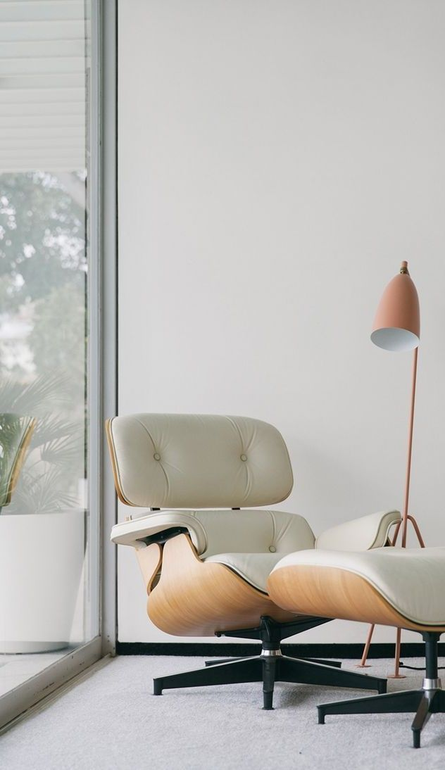 The Grashoppa Floor Lamp First Produced In 1947 Features A Tilted Tubular Steel Tripod Stand And An Elongate Lounge Chair Design Furniture Eames Lounge Chair