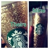 DIY Starbucks glitter cup.  IN LOVE! I get so many complements.It still amazed at how well it turned out. I would recomend using a larger type of glitter ( the thinner does not look as good ).  Note: If you use modge podge (I did) be sure not to use to much or it will take days to dry.  Note: Starbucks does not make the Costumizable Cold Cup any more. The new Cold Cup do not seperate. Be prepared to spend at least 20 dollars on ebay or amazon. Sorry about the bad picture.