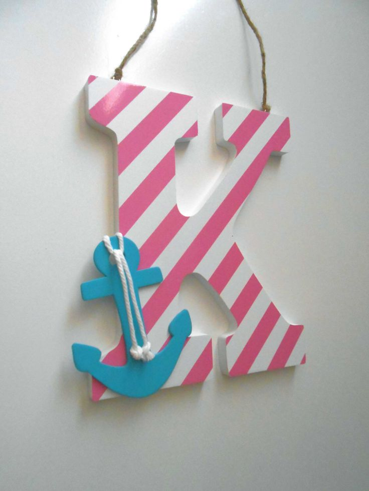 Anchor Decor - Wall Letters - Nautical Nursery Decor - Anchor Nursery - Turquoise And Pink Decor - Nautical  - Beach Decor - Nursery Wall by LaurenAnnaLei on Etsy https://www.etsy.com/listing/182217735/anchor-decor-wall-letters-nautical