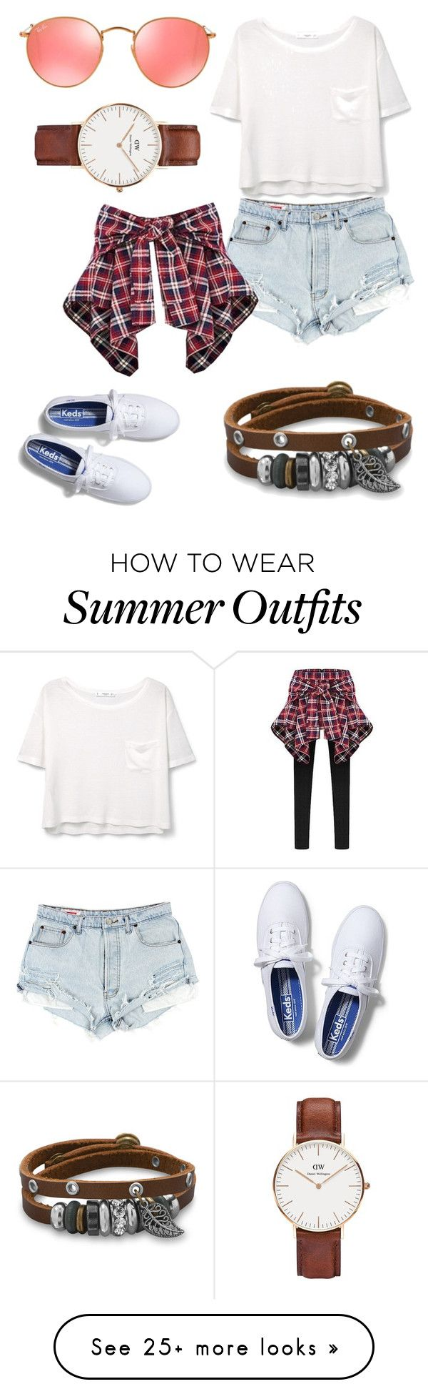 """Chic but comfy outdoorsy outfit"" by bbysplatt104 on Polyvore featuring MANGO, Keds, Ray-Ban, BillyTheTree, Daniel Wellington and Summer"