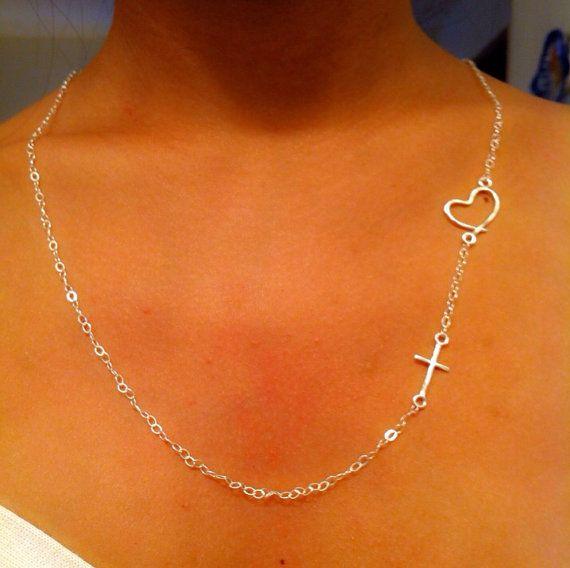 Side cross necklace cross necklace necklace by EllynBlueJewelry, $17.99