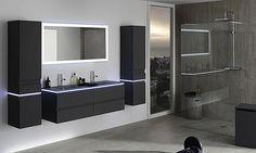 Ensemble Halo de Sanijura avec armoire laquée, table marbre éclairage LED et armoire laquée noire