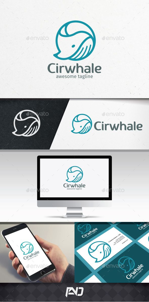 Circle Whale Logo Template  You can use this logo for any business, animal, fish, big, whale, ocean, studio, corporate, etc