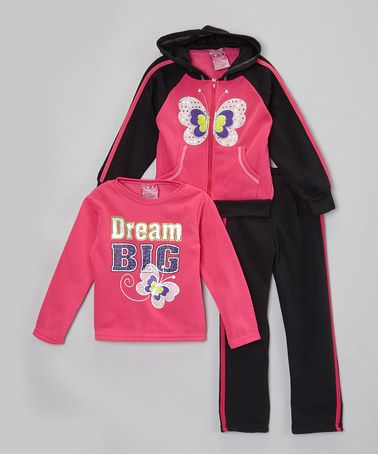 Hot Pink & Black Butterfly Hoodie Set - Toddler & Girls #zulily #zulilyfinds