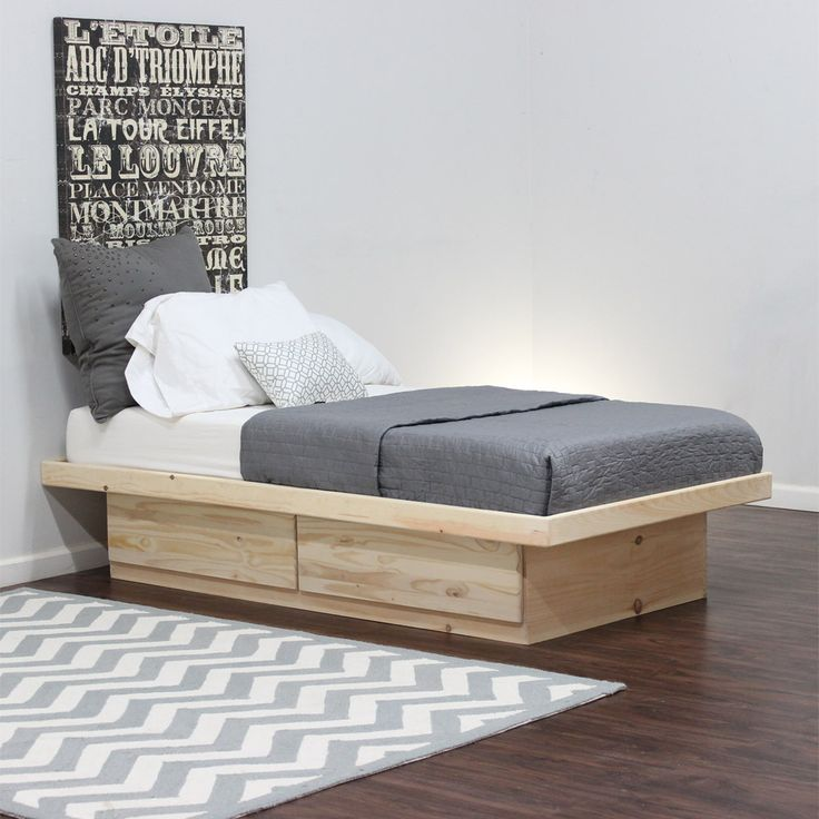 Twin Platform Bed 2 Drawers on Metal Tracks in Pine | Twin ...
