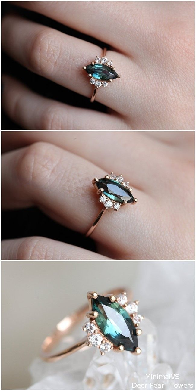 Green Blue Sapphire Engagement Ring with diamonds in 18k rose gold