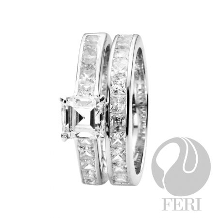 Women wedding ring. .925 fine sterling silver with - 0.1 micron natural rhodium set with  AAA white cubic zirconia