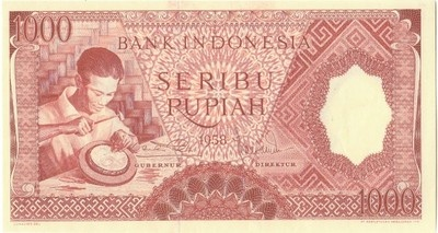 A 1958 Uncirculated 1000 Rupiah Banknote from Indonesia , See Photos Nice Bill