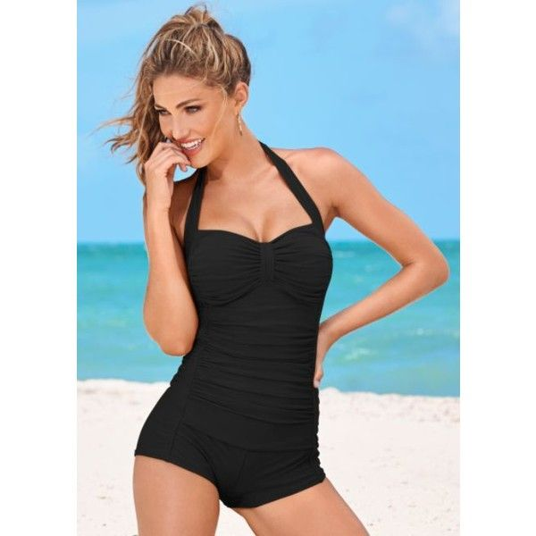 Venus Shorty One-piece ($66) ❤ liked on Polyvore featuring swimwear, one-piece swimsuits, venus bathing suits, retro bathing suits, venus swimwear and one piece bathing suits