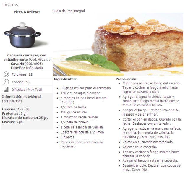 Recetas Dulces - Budín de pan integral