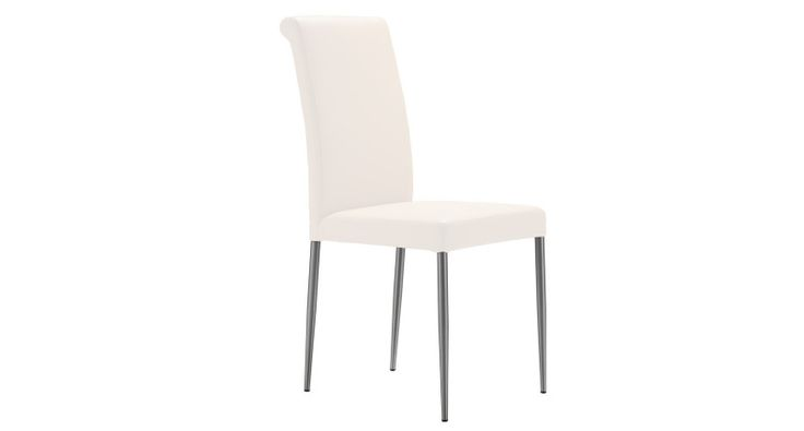 The classic designer Tod dining chairs are upholstered in comfortable, dense foam and covered in soft yet durable genuine leather. The backrest has a modern roll back which is stylish and eye-catching. With brushed metal legs are rounded, slim and tapered. These modern dining chairs are available in four shades. £129.00