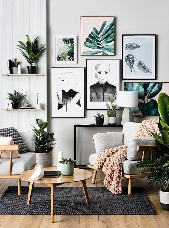 Modern Scandinavian Living Room With Wall Art And Green Plants Decor Cheap Home Decor Natural Home Decor