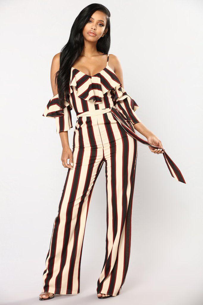 6c6011df104 Celestial Stripe Jumpsuit - Nude Black