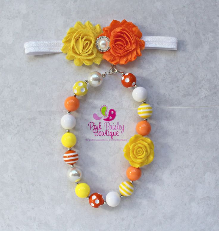 A personal favorite from my Etsy shop https://www.etsy.com/listing/266515284/baby-headband-necklace-set-you-are-myBaby Headband & Necklace set, You are my sunshine birthday cake smash, lemonade, orange yellow bows, Baby Accessories, Chunky Necklace Bows