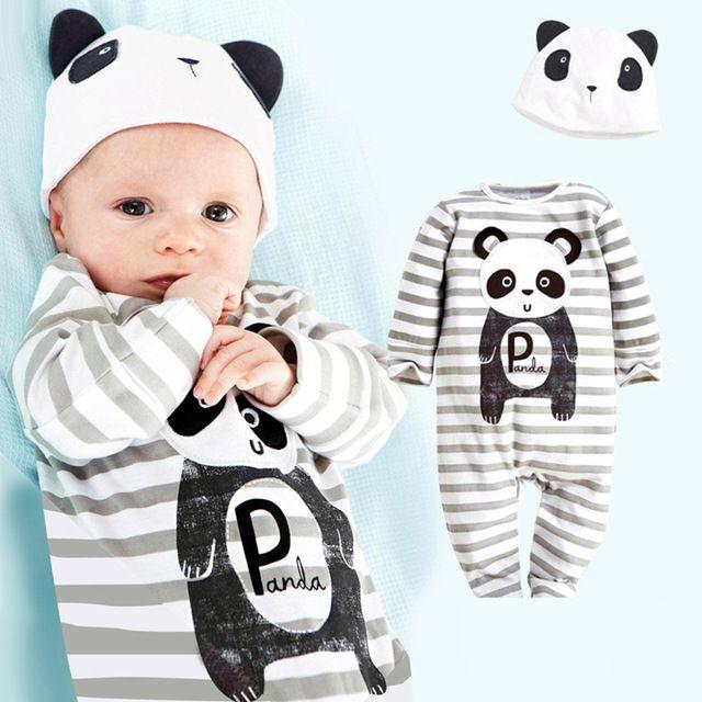 Macacão de Bebê recém-nascido Bonito Animais Bodysuit Roupas de Marca Menino…