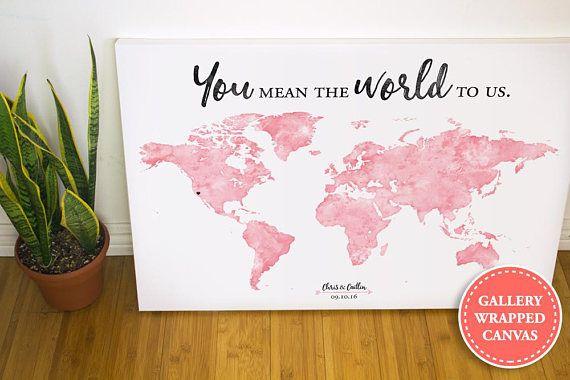 Watercolor World Map Wedding Guest Book Alternative Wedding