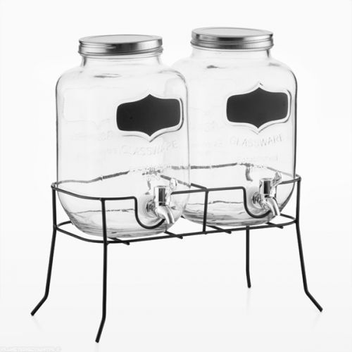 Distributeurs de boissons avec ardoise vintage - 26,90 € - Distributeurs de boissons avec support vintage et ardoise d'une capacité de 2 litres par récipient. à petit prix, plus d'infos sur Planete Discount